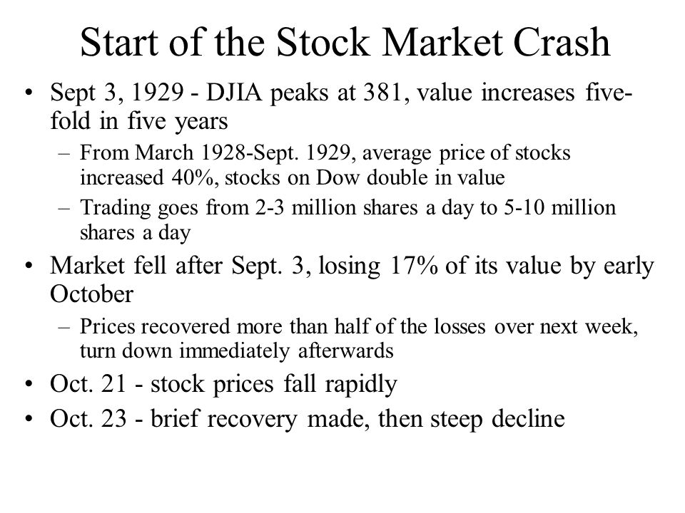 Start of the Stock Market Crash