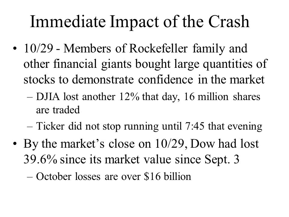 Immediate Impact of the Crash