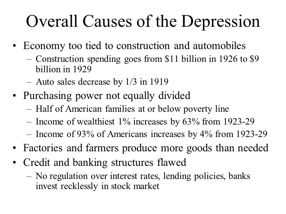 Overall Causes of the Depression