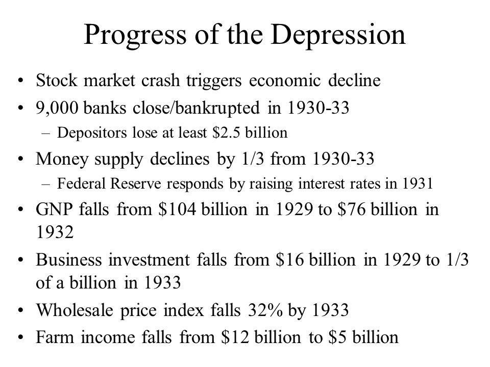 Progress of the Depression
