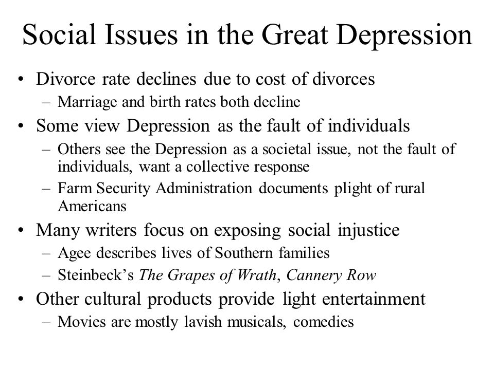 Social Issues in the Great Depression