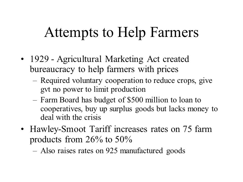 Attempts to Help Farmers