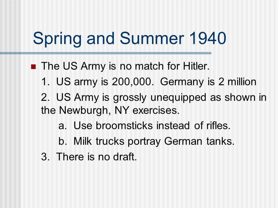 Spring and Summer 1940 The US Army is no match for Hitler.
