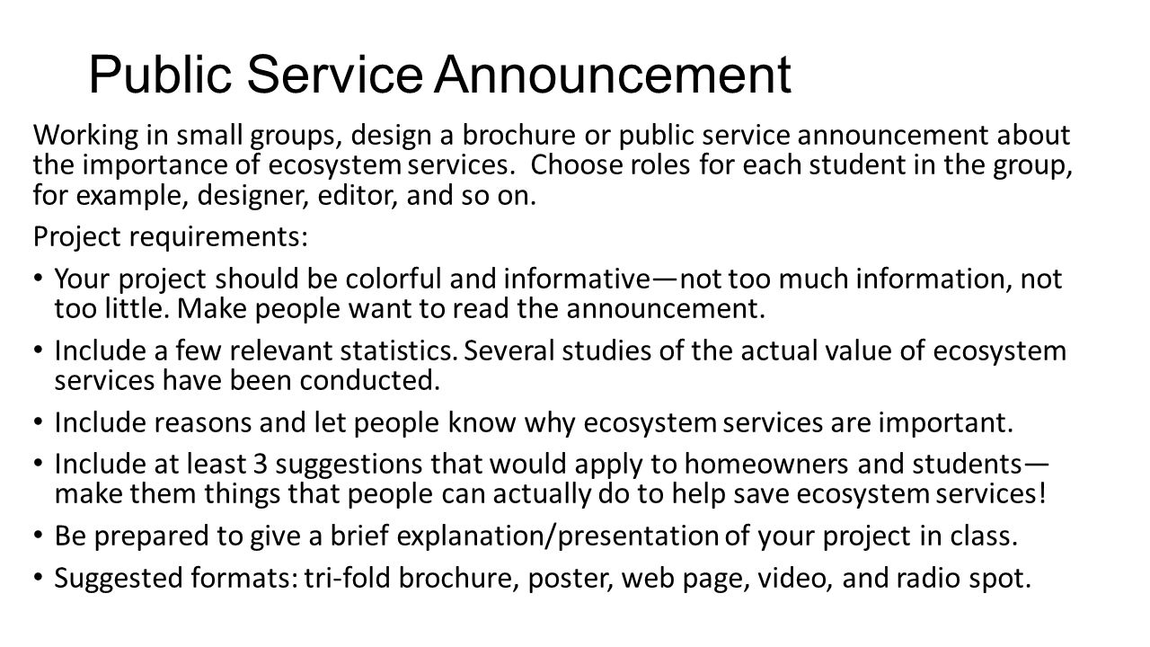 Ecosystem vs ecosystem services ppt download for Public service announcement template