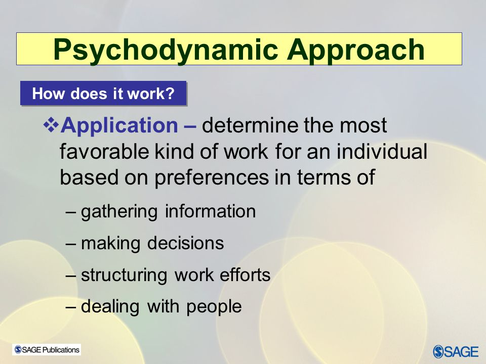 the application of psychodynamic theories based Psychoanalytic theory & approaches the single major therapeutic perspective that was transplanted to the united states was ego psychology, based centrally on sigmund freud's the theories of klein and bion, self-psychology, the lacanians, and more.