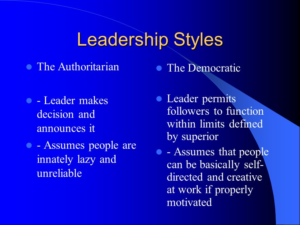 authoritarian leadership style definition An autocratic leadership, also referred to as an authoritarian leadership, is one in which an individual has control over all decisions with little input from the rest of the group's members one of the characteristics of an autocratic leadership is that group members are not often trusted with.