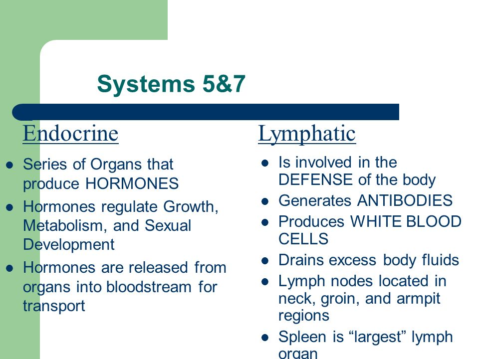Systems 5&7 Endocrine Lymphatic Series of Organs that produce HORMONES