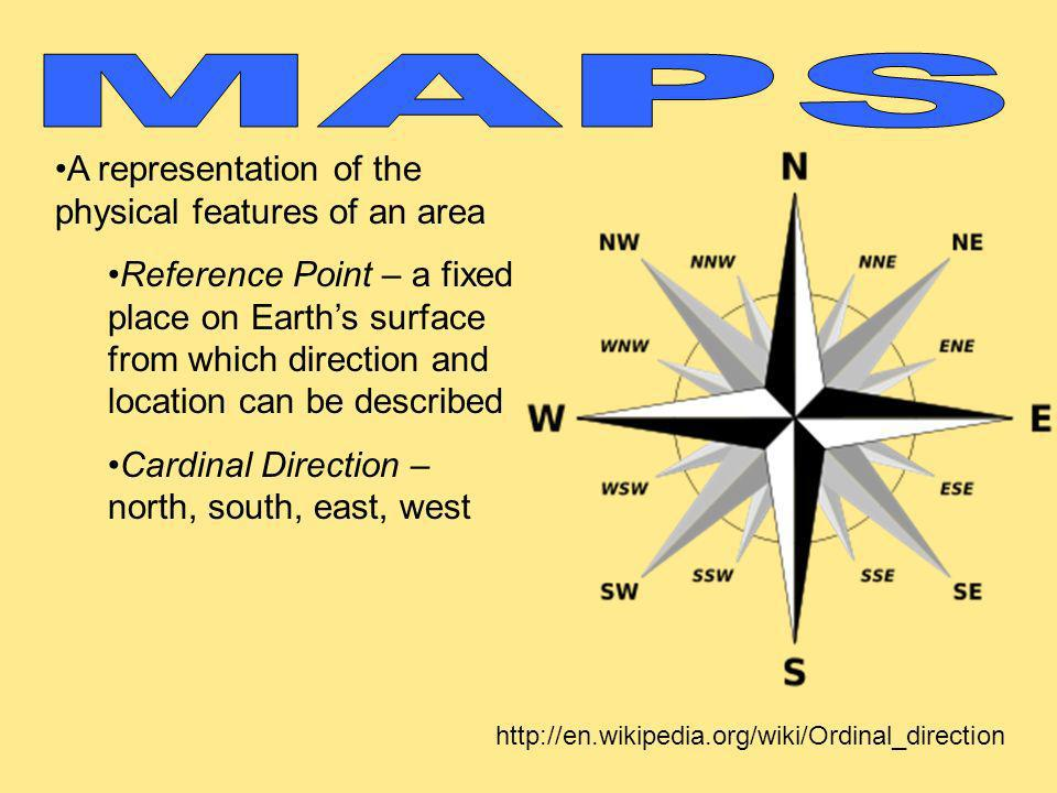 MAPS A representation of the physical features of an area