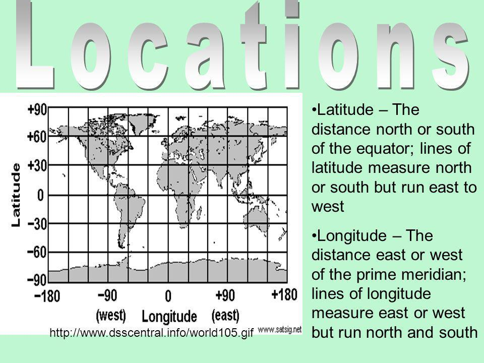 Locations Latitude – The distance north or south of the equator; lines of latitude measure north or south but run east to west.