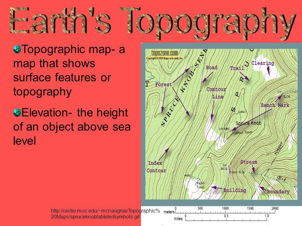 Earth s Topography Topographic map- a map that shows surface features or topography. Elevation- the height of an object above sea level.