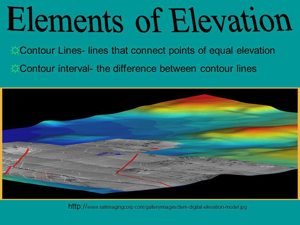 Elements of Elevation Contour Lines- lines that connect points of equal elevation. Contour interval- the difference between contour lines.
