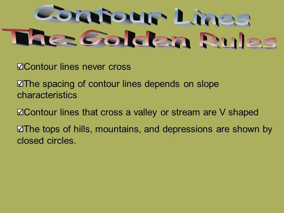 Contour Lines The Golden Rules Contour lines never cross