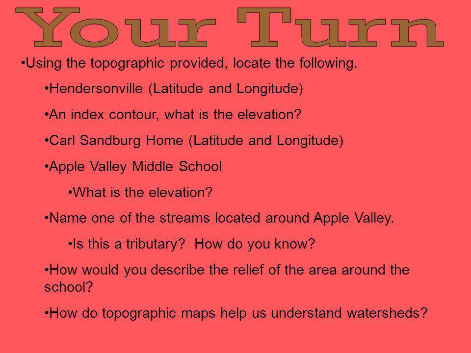Your Turn Using the topographic provided, locate the following.