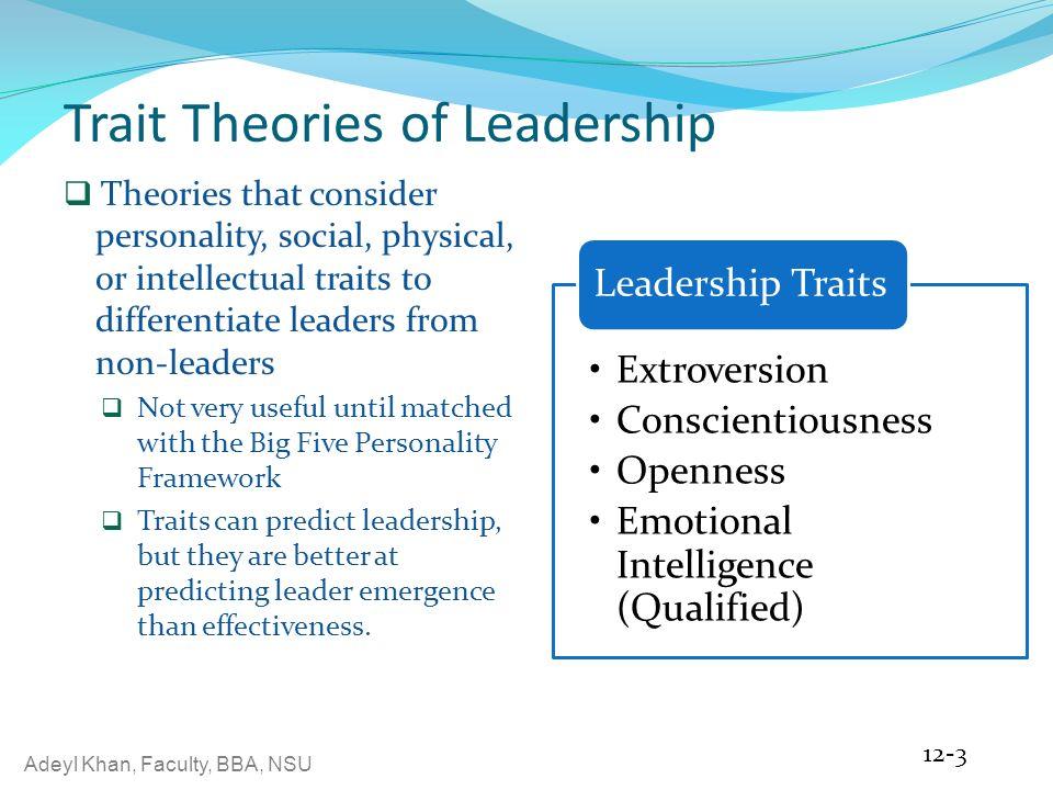 """trait leadership 41 the trait approach to leadership the trait approach arose from the """"great man"""" theory as a way of identifying the key characteristics of successful leaders."""