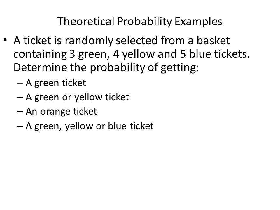 Theoretical Probability Examples