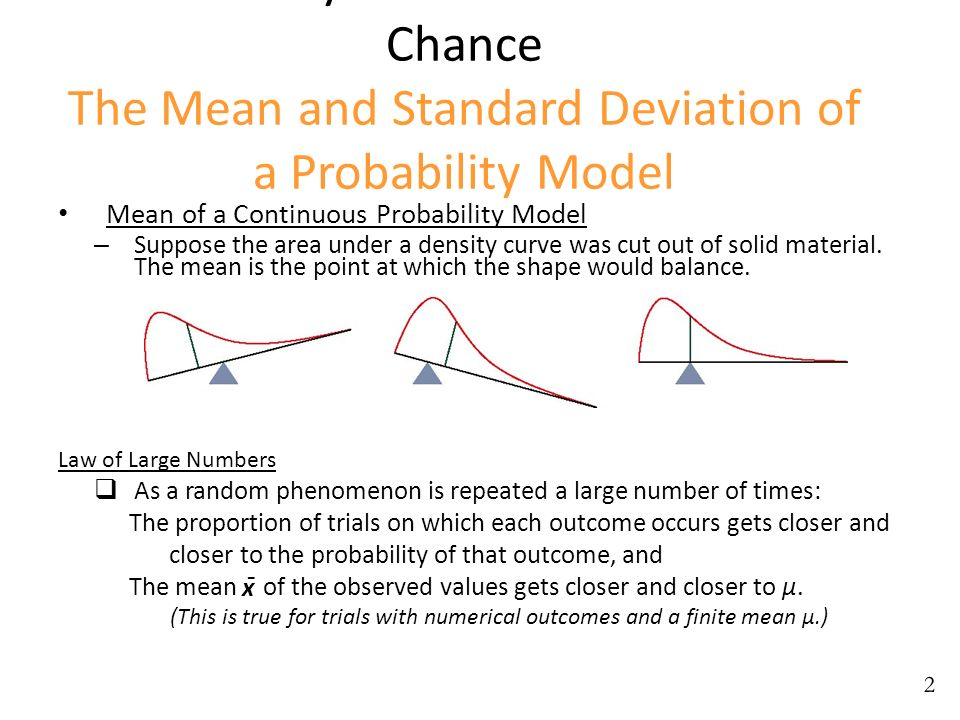 Probability: The Mathematics of Chance The Mean and Standard Deviation of a Probability Model