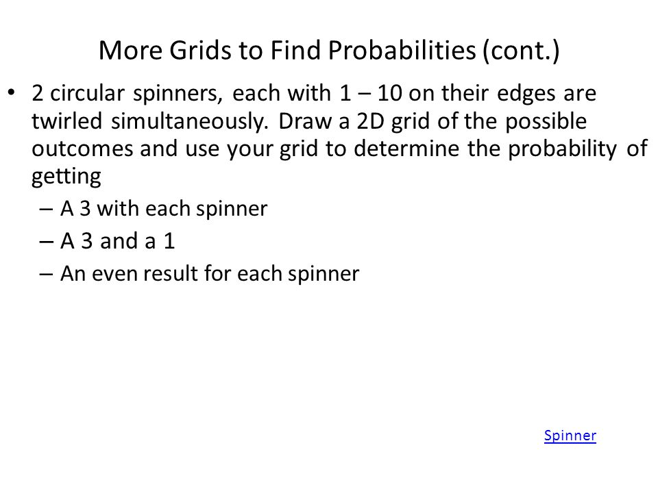 More Grids to Find Probabilities (cont.)