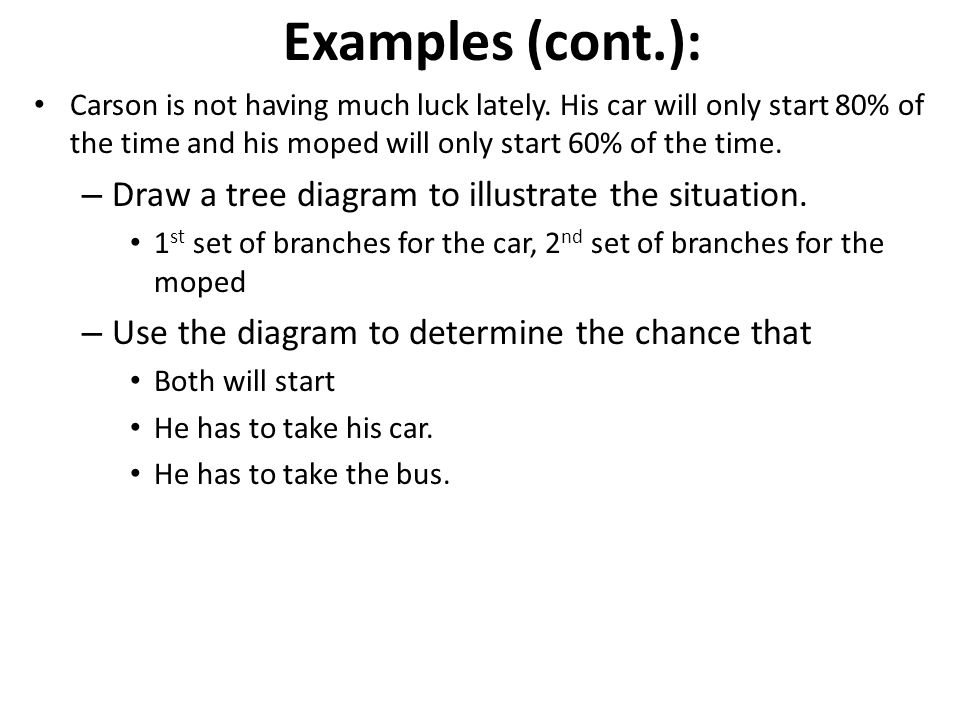 Examples (cont.): Draw a tree diagram to illustrate the situation.