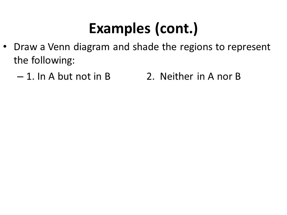 Examples (cont.) Draw a Venn diagram and shade the regions to represent the following: 1.
