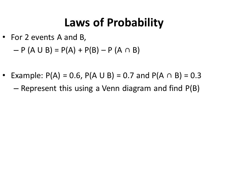 Laws of Probability For 2 events A and B,
