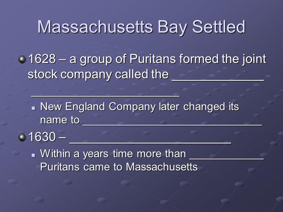 Massachusetts Bay Settled