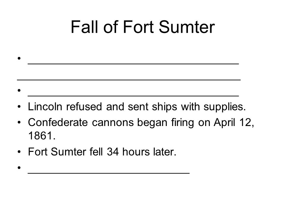 Fall of Fort Sumter __________________________________