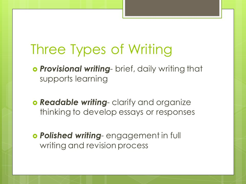 types of writing process Learning styles and the writing process gathering information visual learners look at model papers both student writing and professional papers will give you useful ideas about use bold type or italics for the topic sentence of each paragraph.