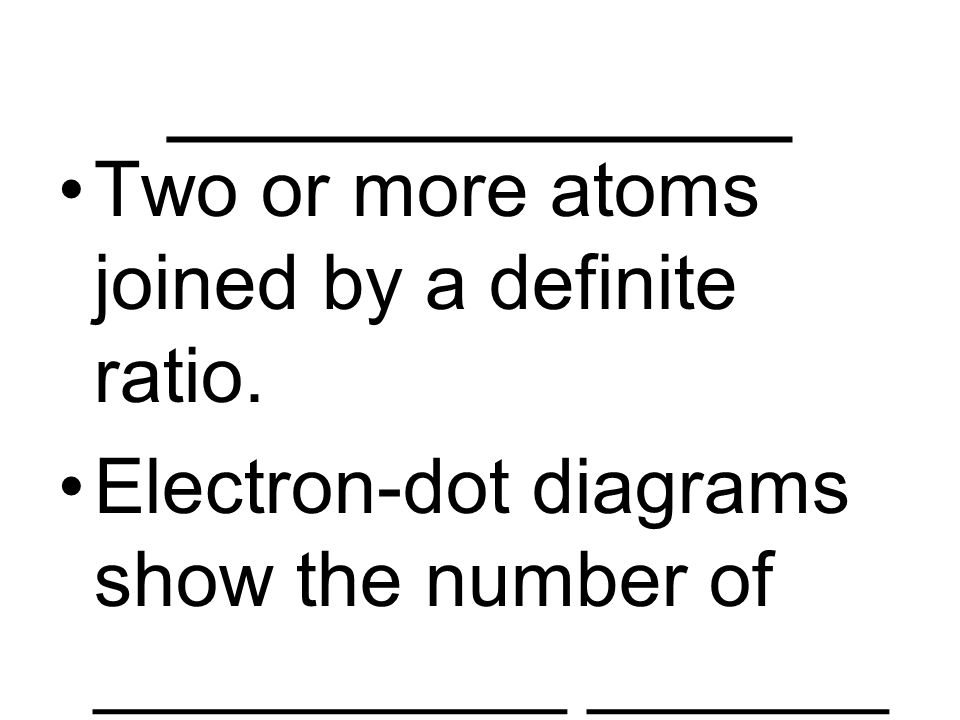 ____________ Two or more atoms joined by a definite ratio.