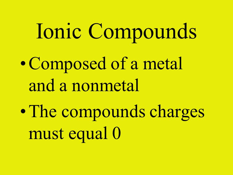 Ionic Compounds Composed of a metal and a nonmetal