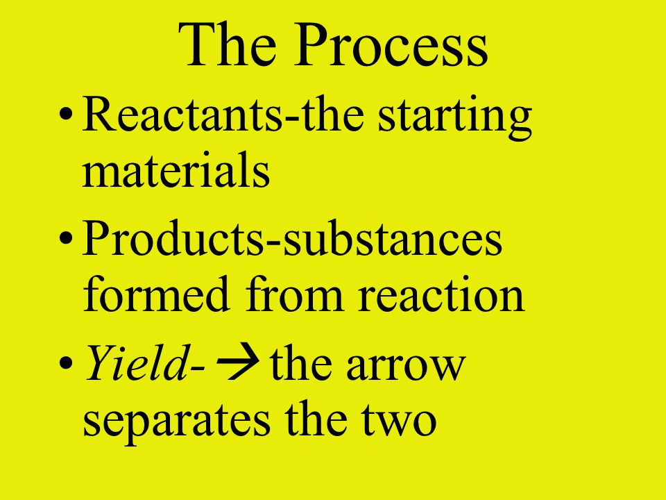 The Process Reactants-the starting materials