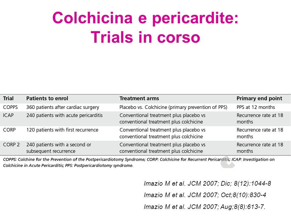 Colchicina e pericardite: Trials in corso