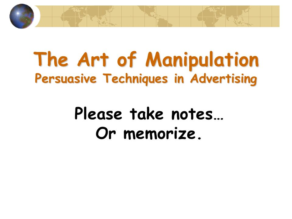 persuasive techniques in advertising Free advertising techniques papers, essays, and research papers  this advert is very informative as well as persuasive it is designed to inform people,.