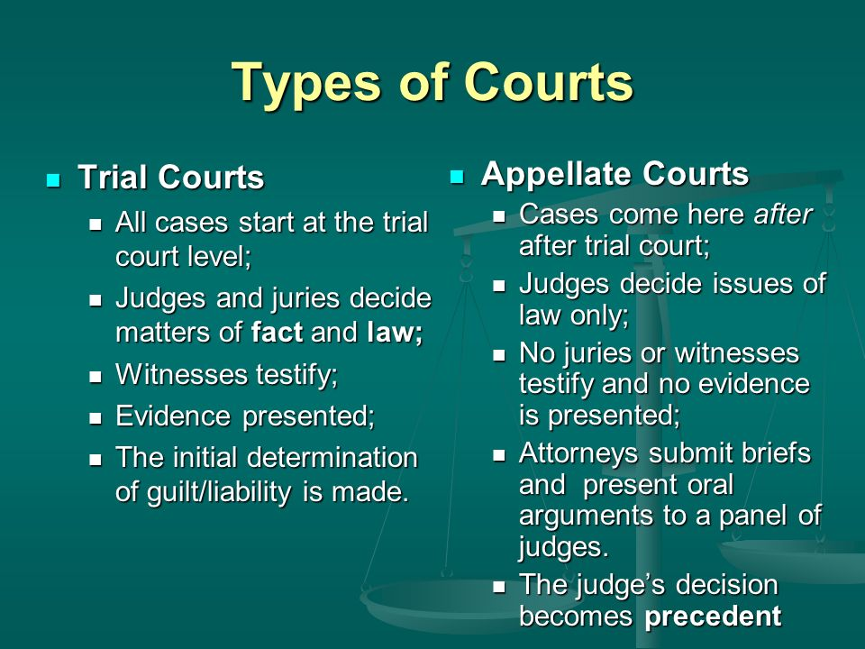 Types of Courts Trial Courts Appellate Courts