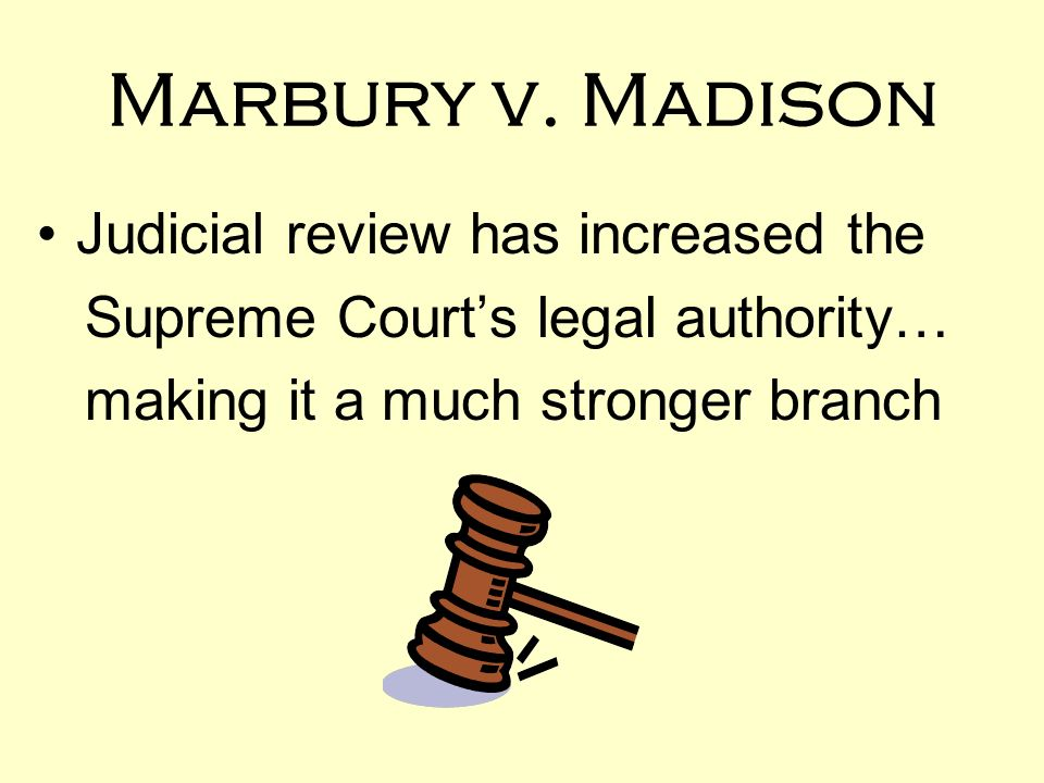 marbury v madison judicial review View this case and other resources at: citation 5 us 137, 1 cranch 137, 2 l ed 60 (1803) brief fact summary william marbury was a justice of the peace appointed.