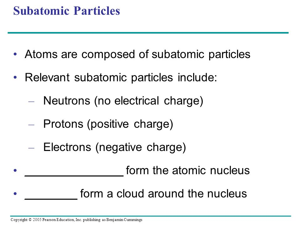Subatomic Particles Atoms are composed of subatomic particles