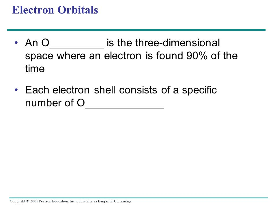 Electron Orbitals An O_________ is the three-dimensional space where an electron is found 90% of the time.