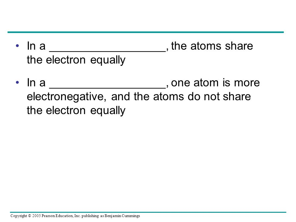 In a __________________, the atoms share the electron equally