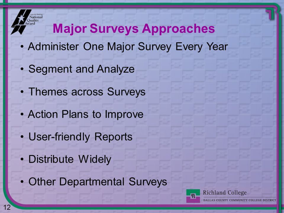 Major Surveys Approaches