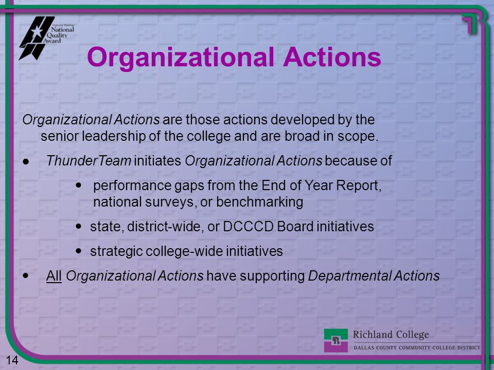 Organizational Actions
