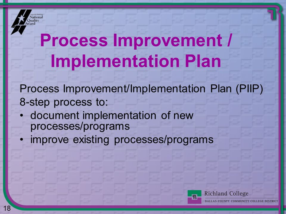 Process Improvement / Implementation Plan