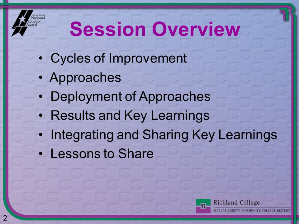 Session Overview Cycles of Improvement Approaches