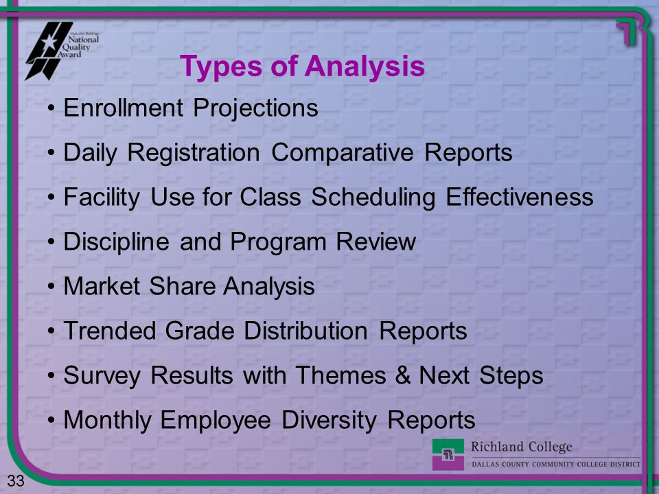 Types of Analysis Enrollment Projections
