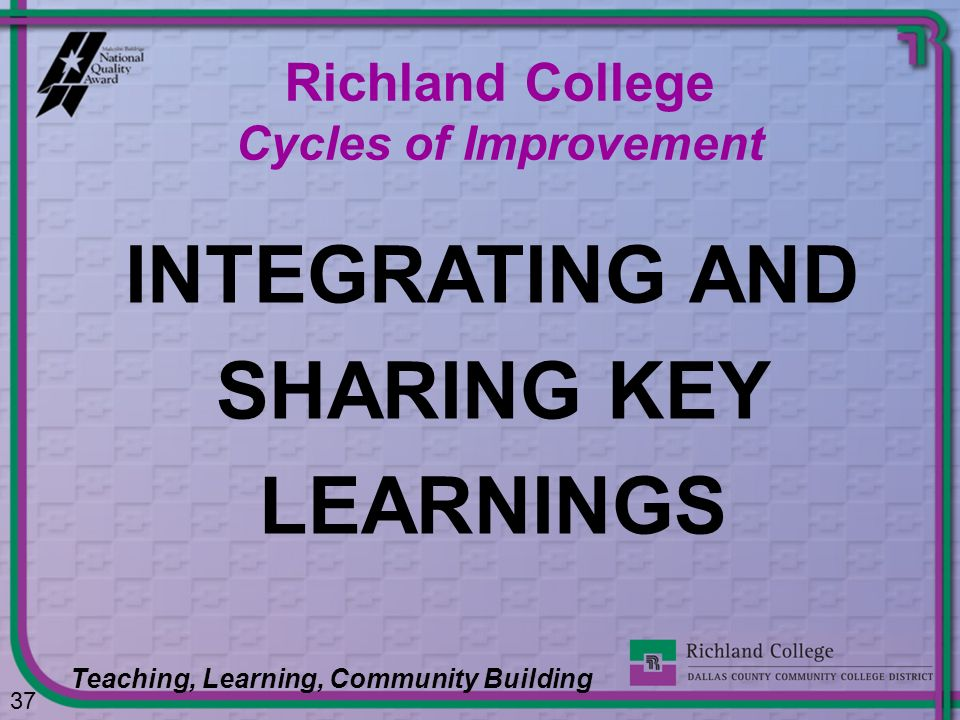INTEGRATING AND SHARING KEY LEARNINGS