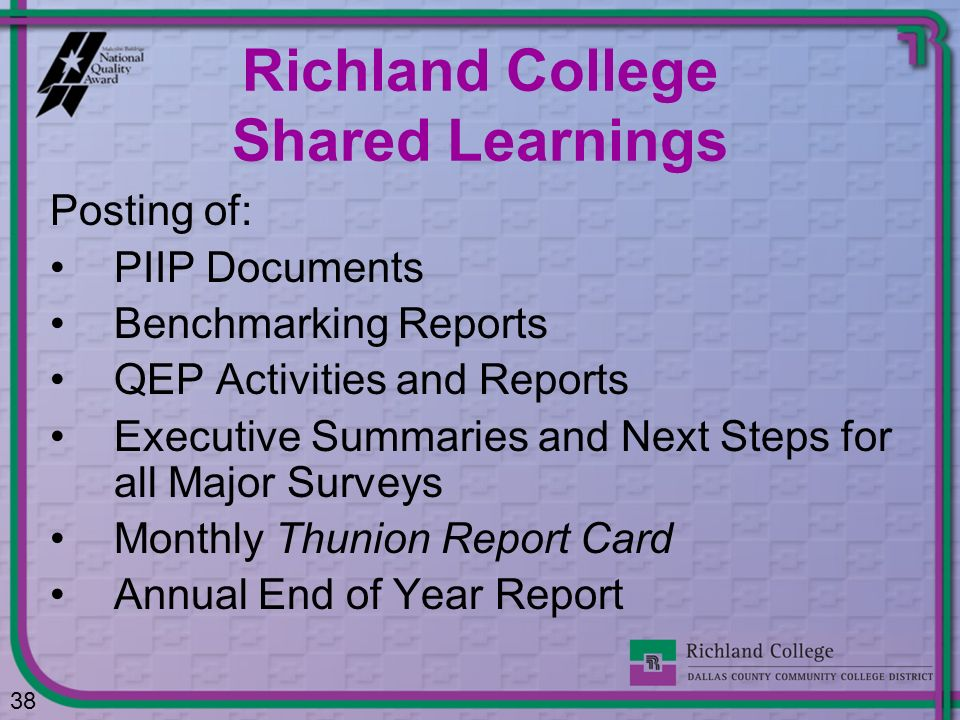 Richland College Shared Learnings