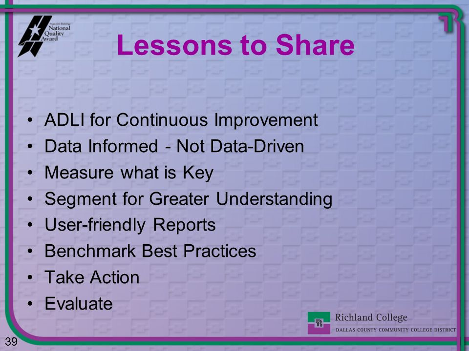 Lessons to Share ADLI for Continuous Improvement