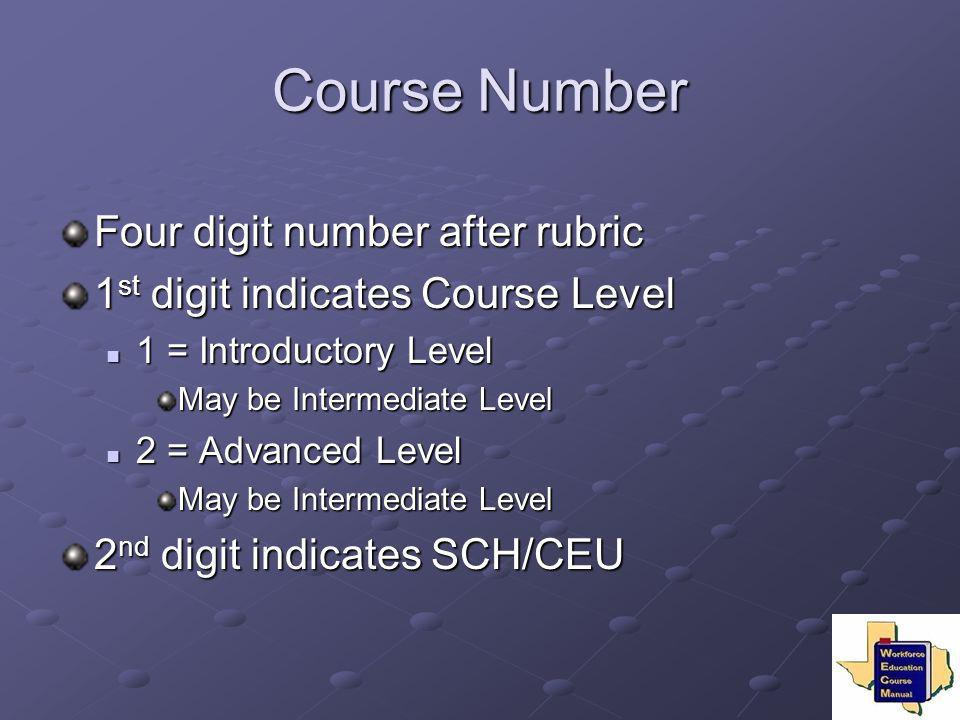 Course Number Four digit number after rubric