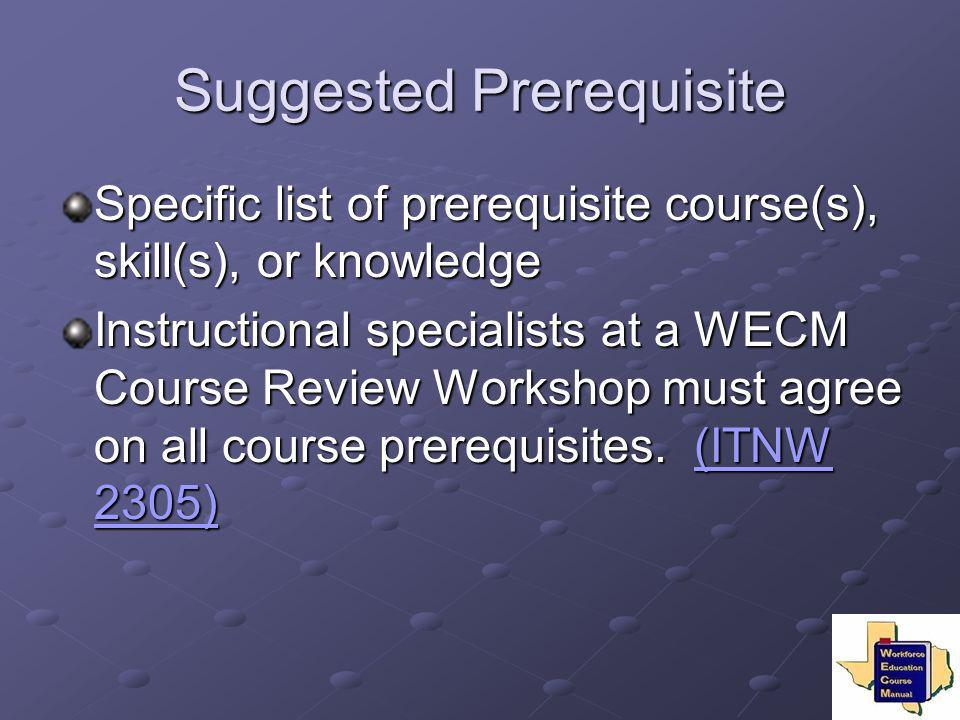 Suggested Prerequisite