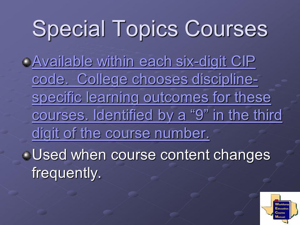 Special Topics Courses