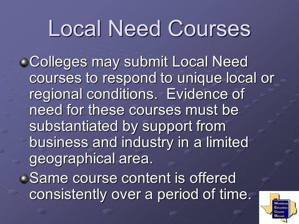 Local Need Courses