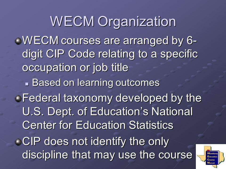WECM Organization WECM courses are arranged by 6-digit CIP Code relating to a specific occupation or job title.